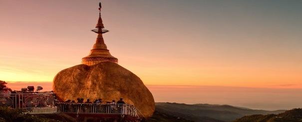 Coucher de soleil Rocher Or Myanmar