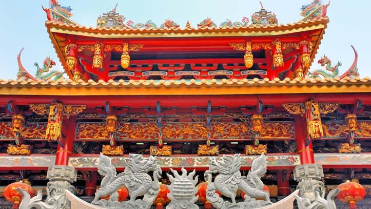 Chine Xiamen facade du temple Tianzhu Yan temple