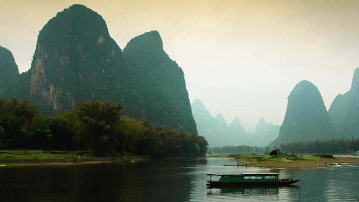 Guilin la riviere Li Yangshuo bateau de peche Chine