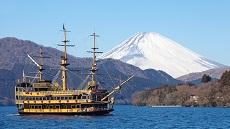 Vue dur le Mont Fuji depuis le lac Ashi à Hakone
