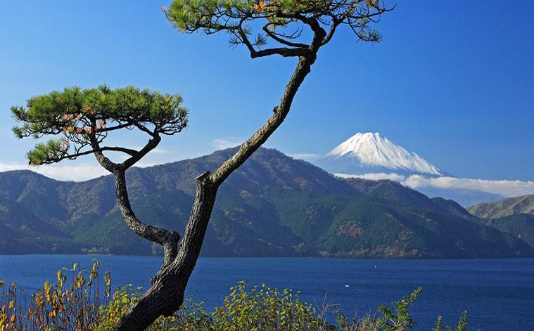 Vue sur le Mont Fuji depuis le lac Ashi à Hakone