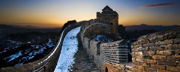 Jingshanling grande muraille de Chine au coucher de soleil