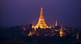 Coucher de soleil Rangoon Myanmar