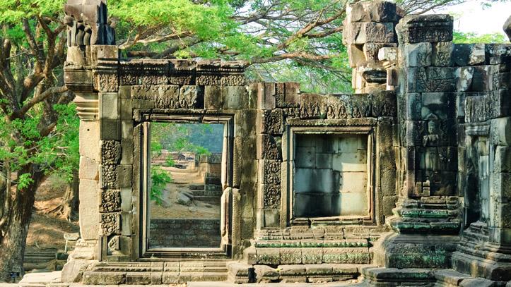 Vestiges de l'ancien temple Khmer d'Angkor Thom, non loin de Siem Reap