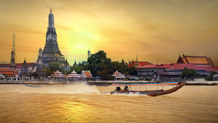 temple thai sunset pecheur