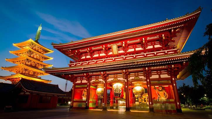 Vue sur le temple Sensoji à Asakusa dans Tokyo