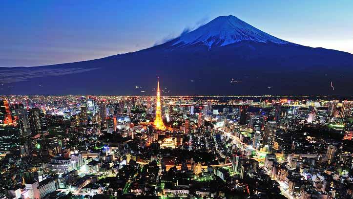 Vue de nuit sur Tokyo et le Mont Fuji