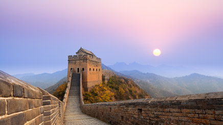 Grande muraille Pékin coucher de soleil