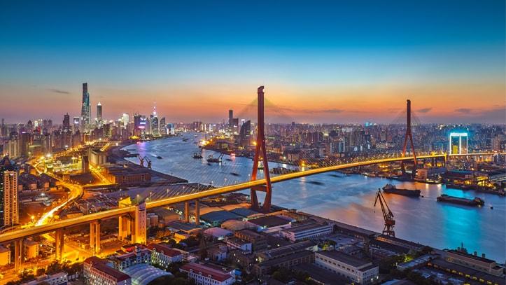 coucher soleil ville shanghai