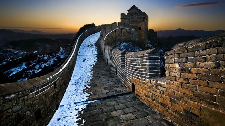 grande muraille chine crepuscule