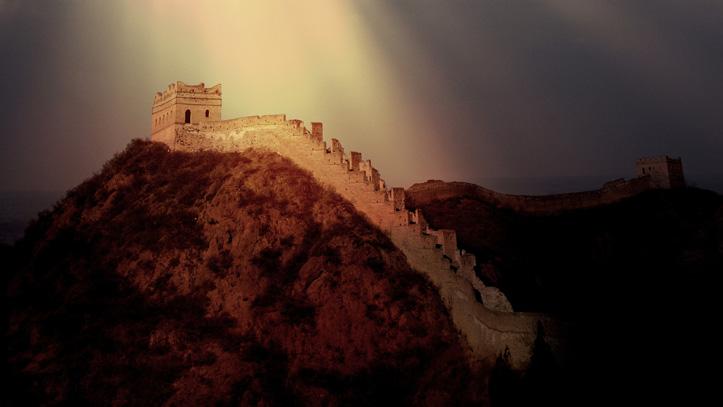 grande muraille chine illuminee