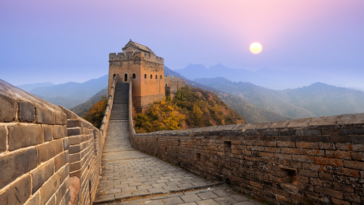 grande muraille chine lever du soleil