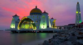 La mosquée Selat Melaka de l'île de malacca