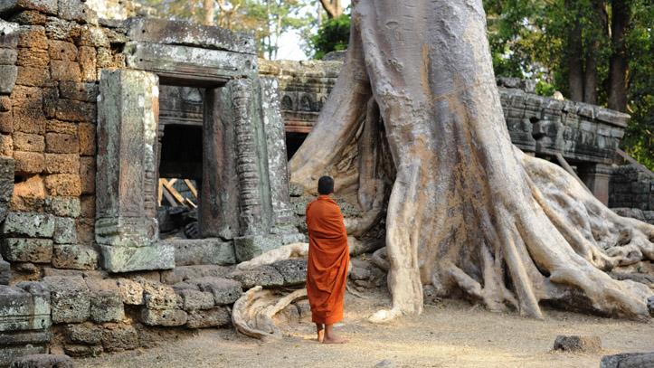 Un moine, contemplant la grandeur et la magie des lieux, à Banteay Kdei, Angkor