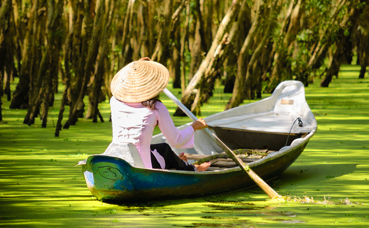 femme pagayant pirogue vietnam