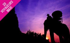 Coucher du soleil et éléphant en Thailande