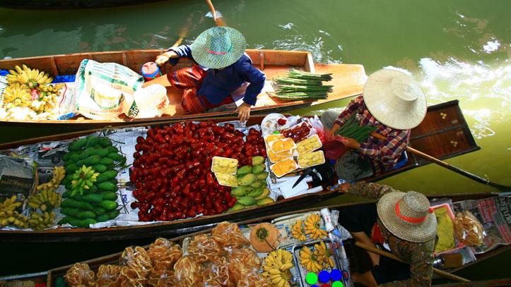 Marché flottant, Thailande