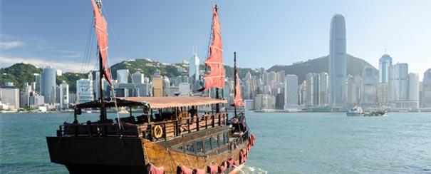 Traversée de la baie de Hong Kong en bateau