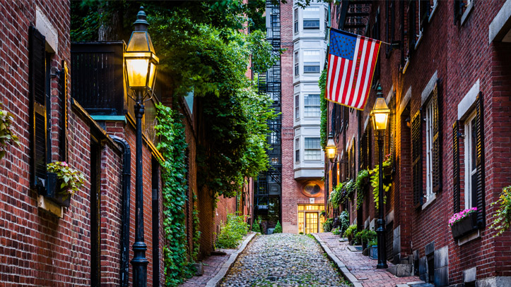 Boston rue architecture drapeau