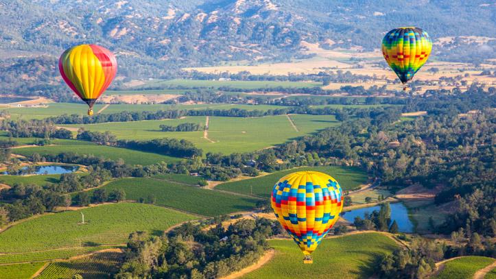 Californie Napa Valler Montgolfieres