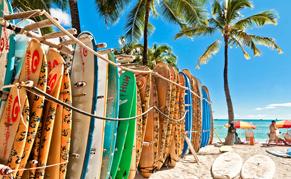 USA Hawaii planche surf plage sable blanc
