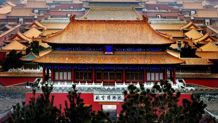 Vue aérienne sur la cité interdite, Beijing