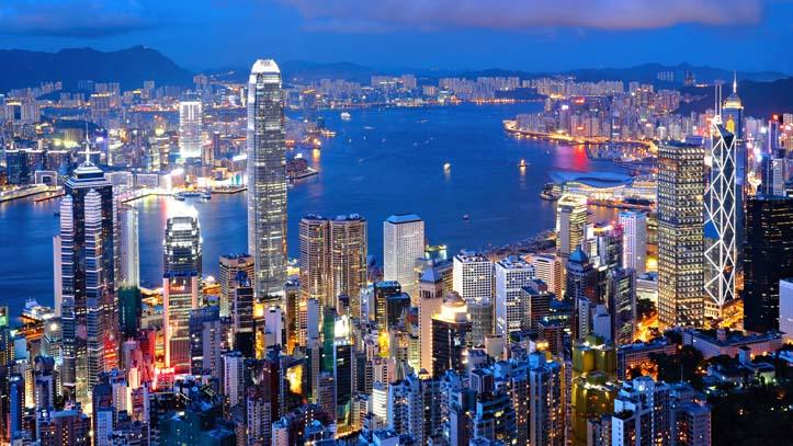 vue panoramique de Hong Kong le soir